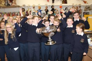 Moate CS 1st year students celebrate Sam Maguires visit to the school
